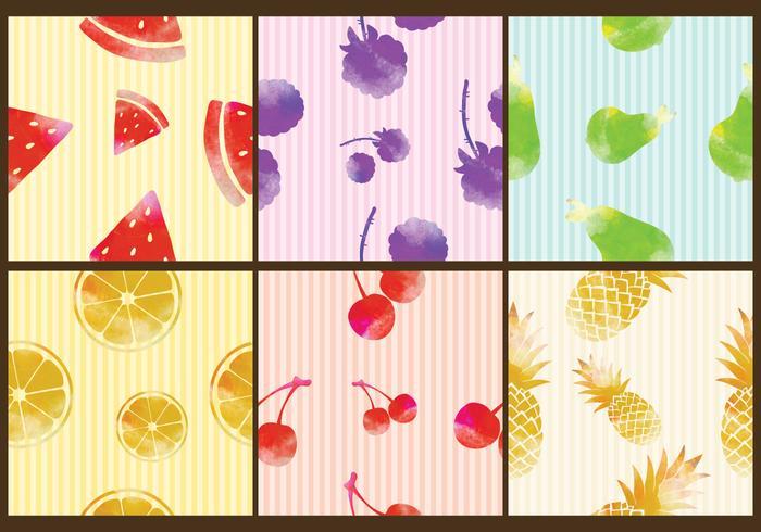 Patrones de la fruta de la acuarela vector