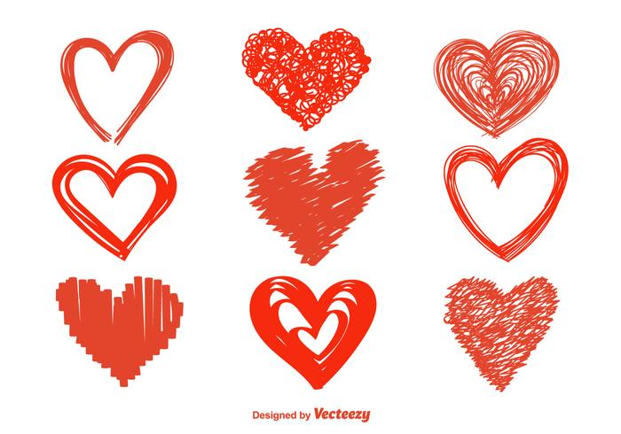Hand Drawn Heart Vector Icons