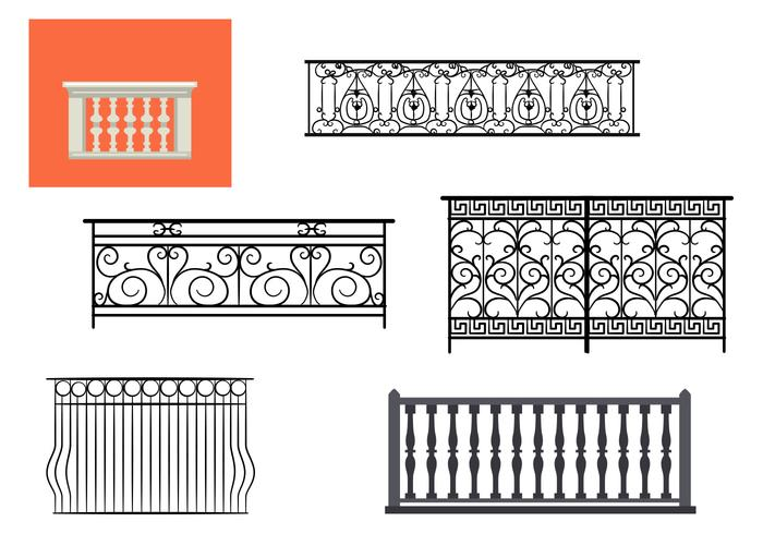 Types of Balcony Railing Vectors