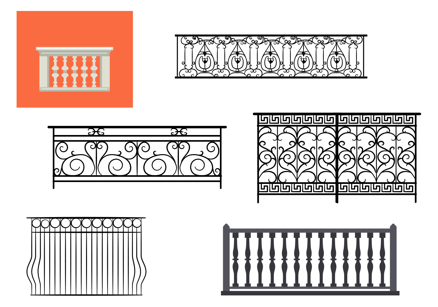 Types of balcony railing vectors download free vector for Types of balcony