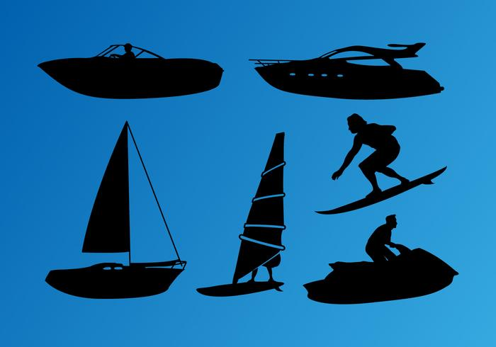 Jet Ski Nautical Silhouettes Vector
