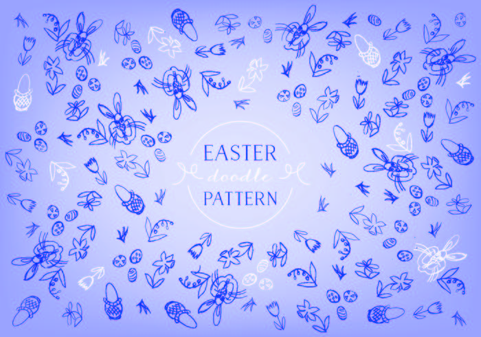 Free Easter Doodle Background Vector