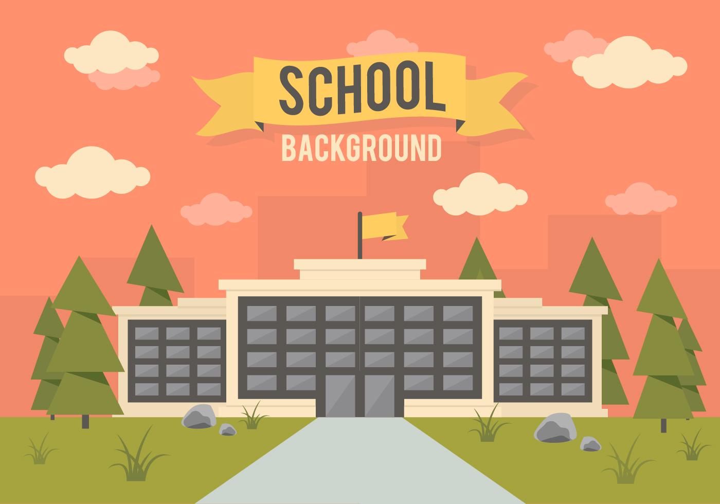 Free School Landscape Vector Background