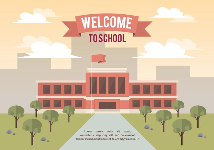 Free School Landscape Vector Background