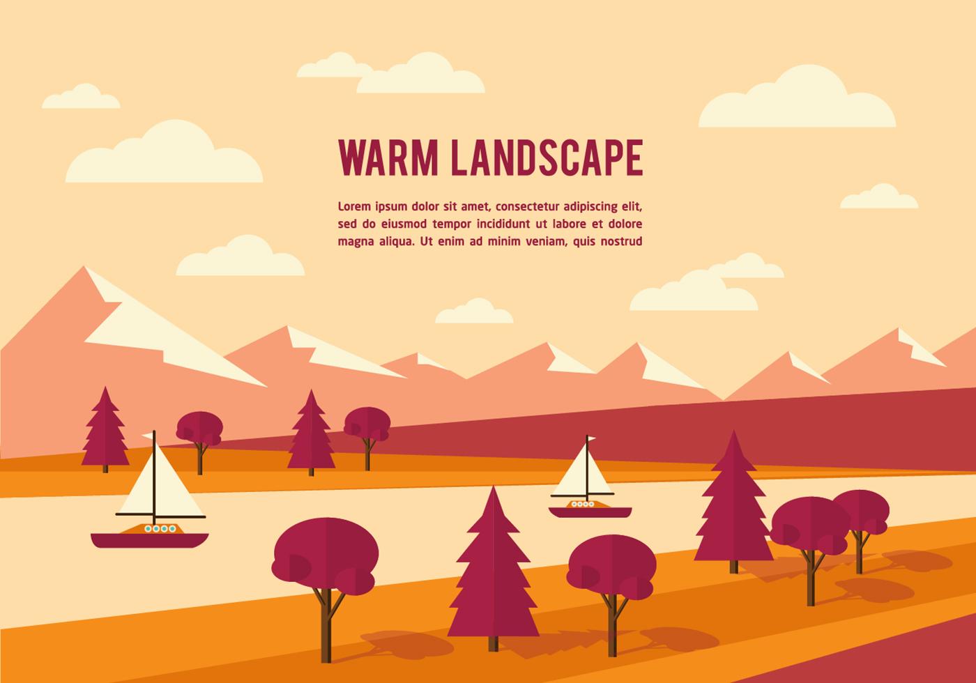 Town Landscape Vector Illustration: Free Summer Landscape Vector Background