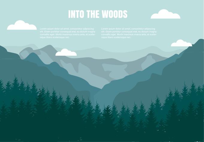 Landscape Illustration Vector Free: Flat Mountains Landscape Vector