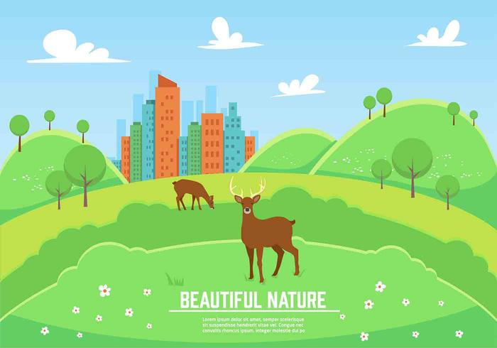 Free Vector Landscape With Deers