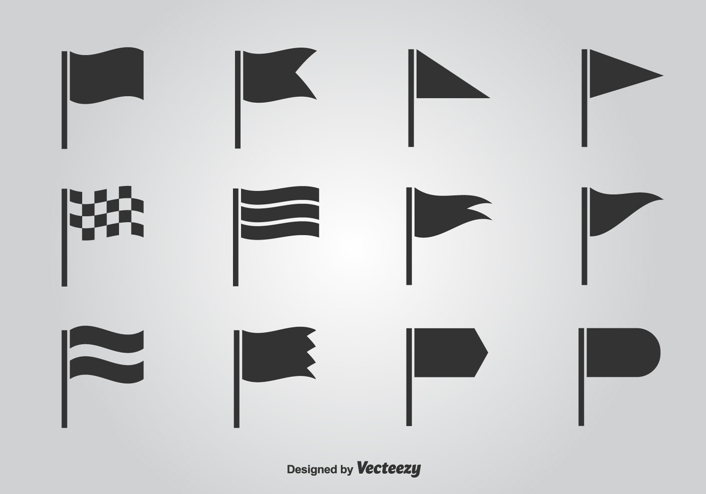 104526 Flag Vector Icon Set on Squiggle Shape