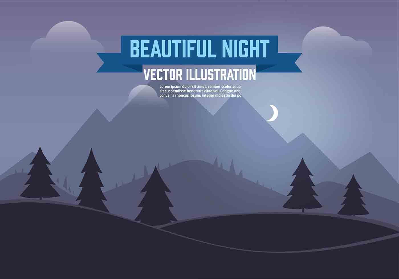 Landscape Illustration Vector Free: Free Vector Night Landscape Illustration