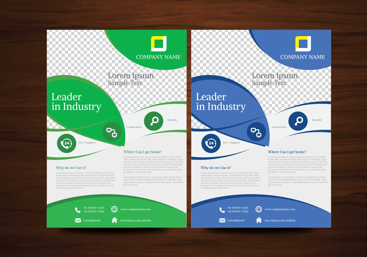 Custom Card Template template design : Blue and Green Vector Brochure Flyer Design Template ...