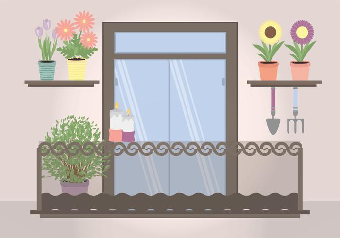 Vector Plant Filled Balcony Illustration