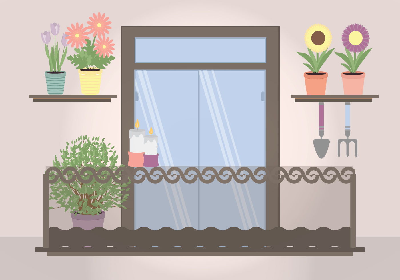 Vector plant filled balcony illustration download free for Balcony vector
