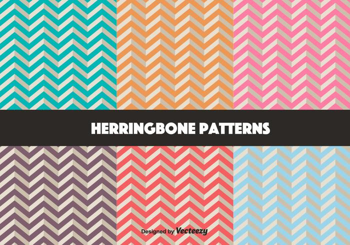 Vector Set Retro Herringbone Pattern