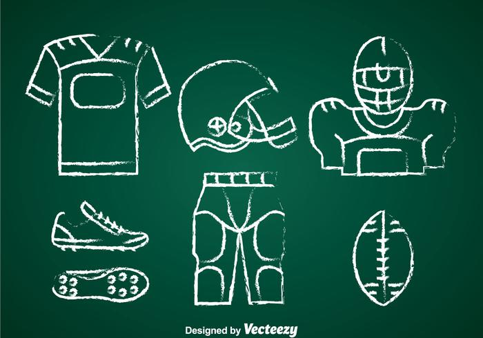 Football Kit Chalk Draw Set Vector