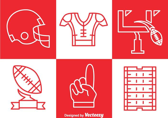 Voetbal Kit Outline Icons Set Vector