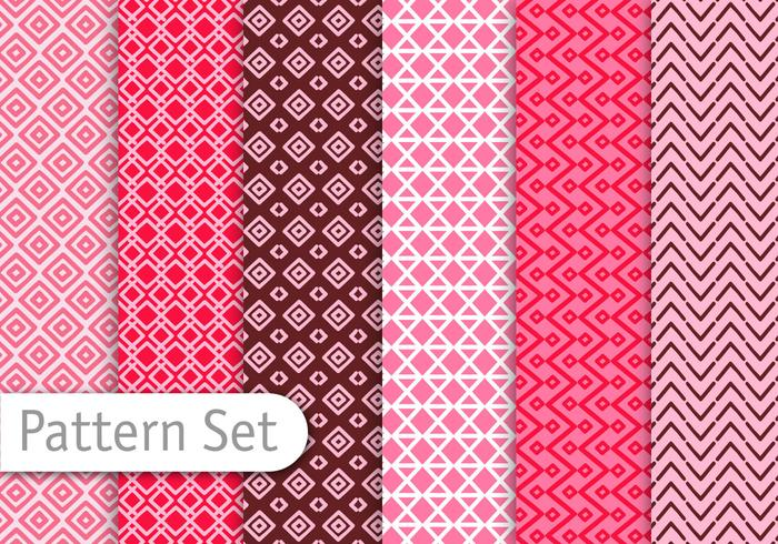Red Line Art Pattern Set