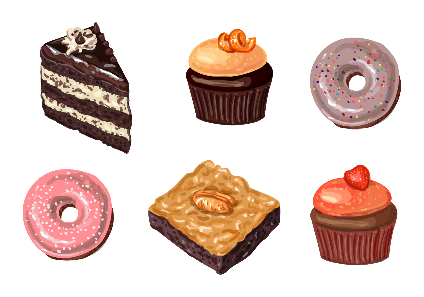 Cakes And Donuts Vectors Download Free Vector Art Stock