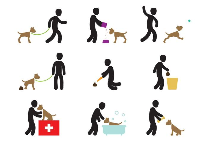 Azioni per la cura del cane vettore