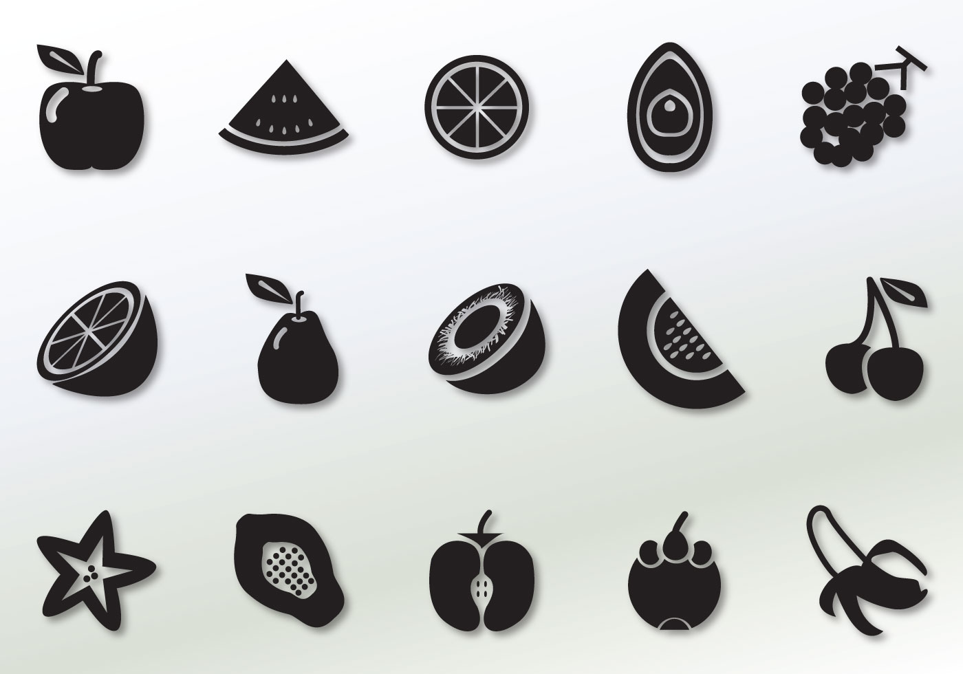 Solid Fruit Vector Icons - Download Free Vector Art, Stock ...