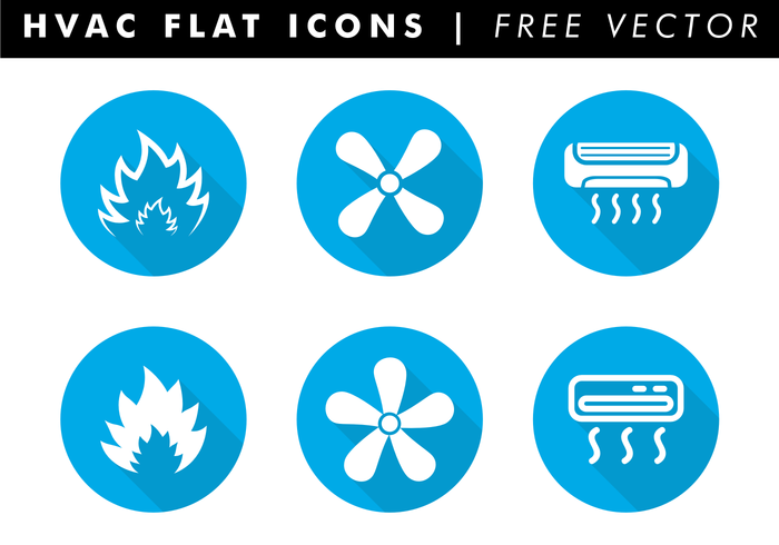 HVAC Flat Icons Free Vector