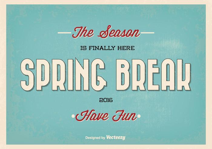 Retro vacaciones de primavera tipográfica ilustración vectorial vector