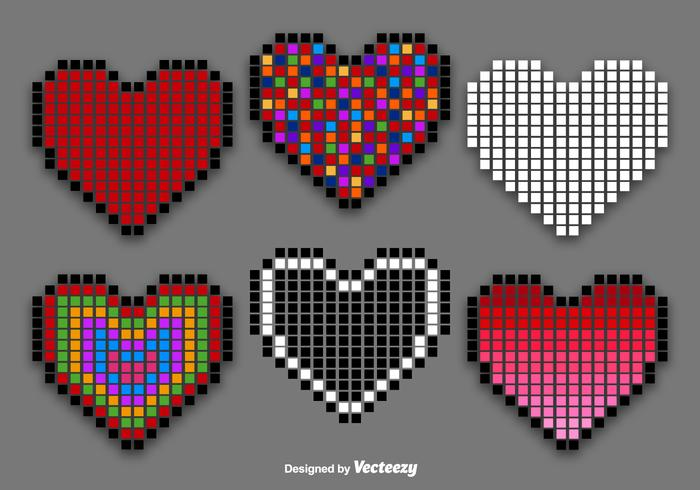 Pixel Heart Vector Set