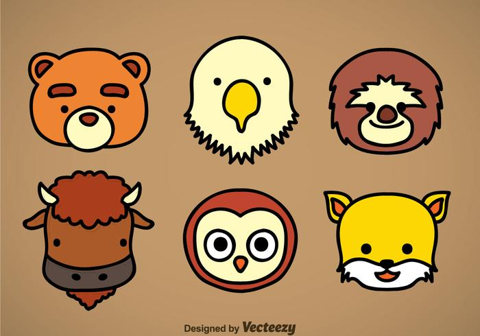 Cute Animal Head Icons Vector Sets