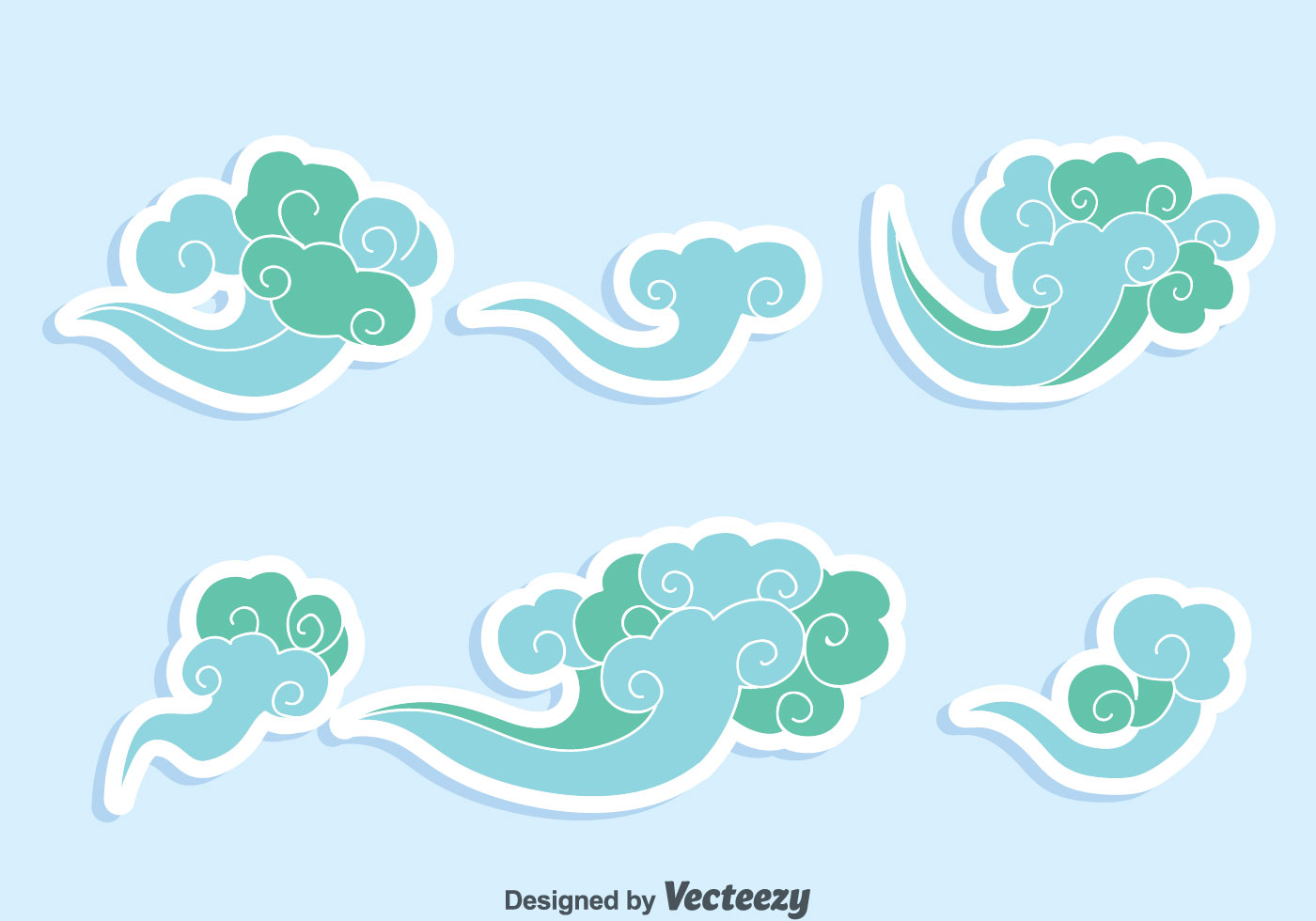 Blue chinese clouds vector download free vector art for Chinese vector