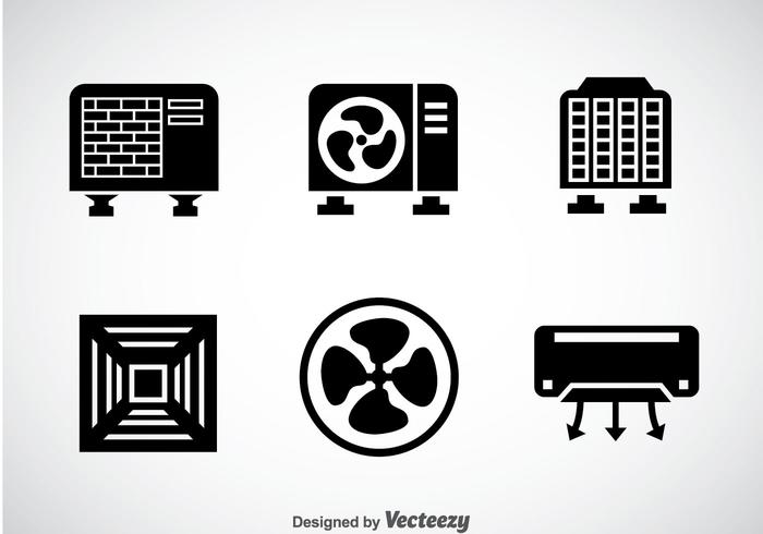 Hvac System Black Icons Vector