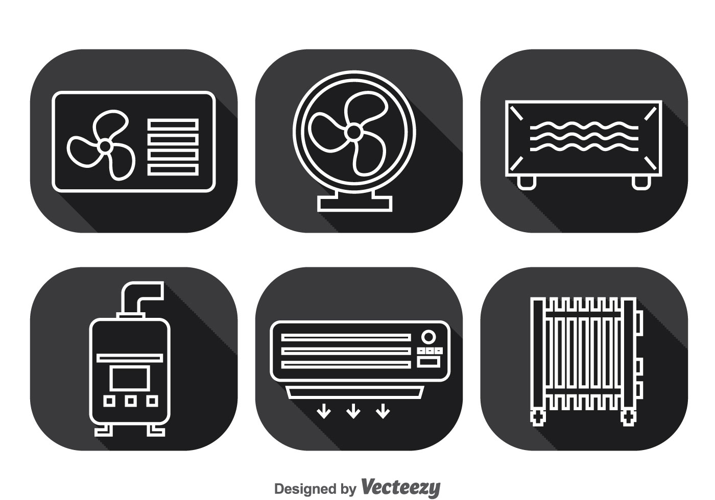 Hvac System Long Shadow Icons Vector Download Free Vector Art Stock  #29292B