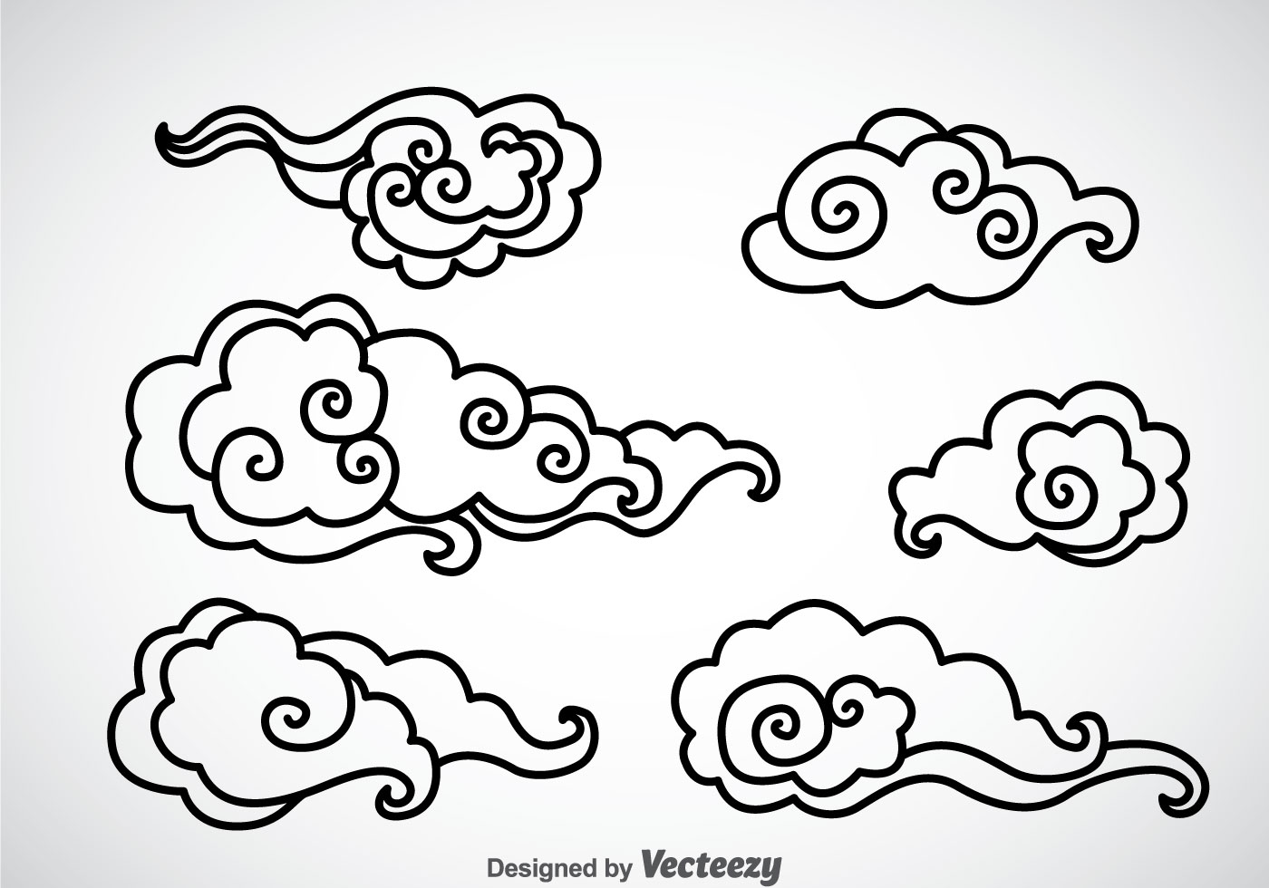 Black Outline Chinese Clouds Vector - Download Free Vector ...