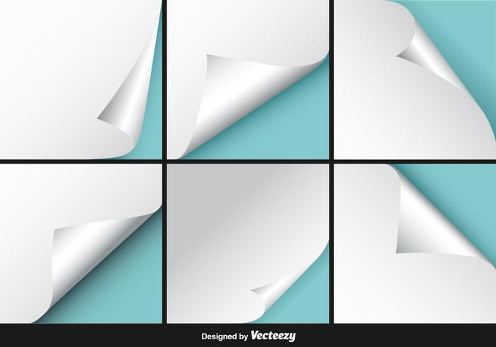 White Page Flip Vector Set