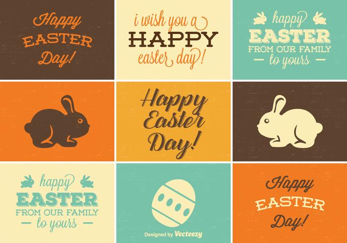 Retro Easter Label Vector Set