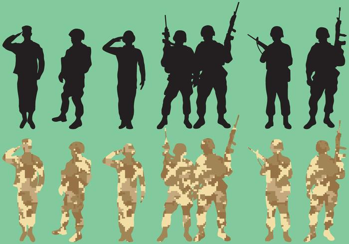 Military Squad Vector Silhouettes