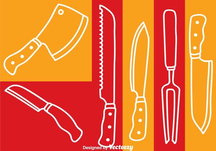 Knife Set White Line Vector