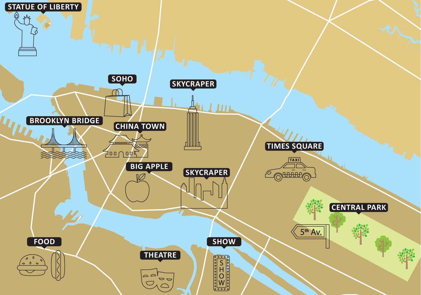 Tourist Map New York Vector - Download Free Vector Art, Stock ...