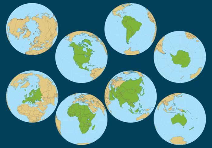 Globe Continent Vectors