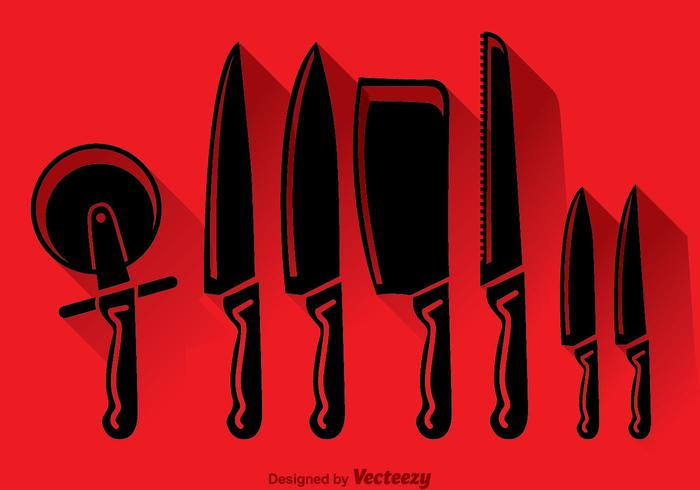 Knife Set Black Icons Vector