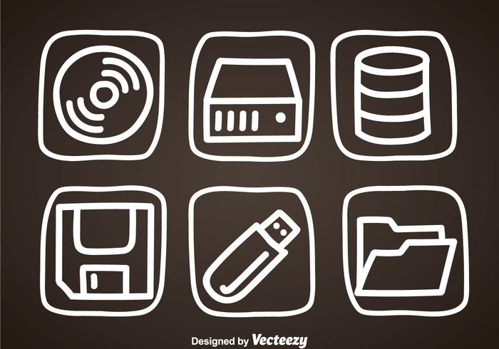 Digital Storage Hand Draw Icons
