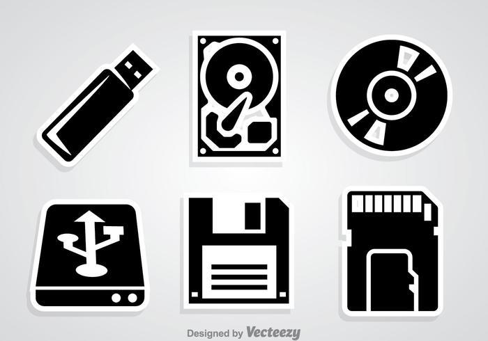 Digitala lagring svarta ikoner