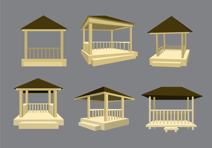 Wooden Gazebo Vector