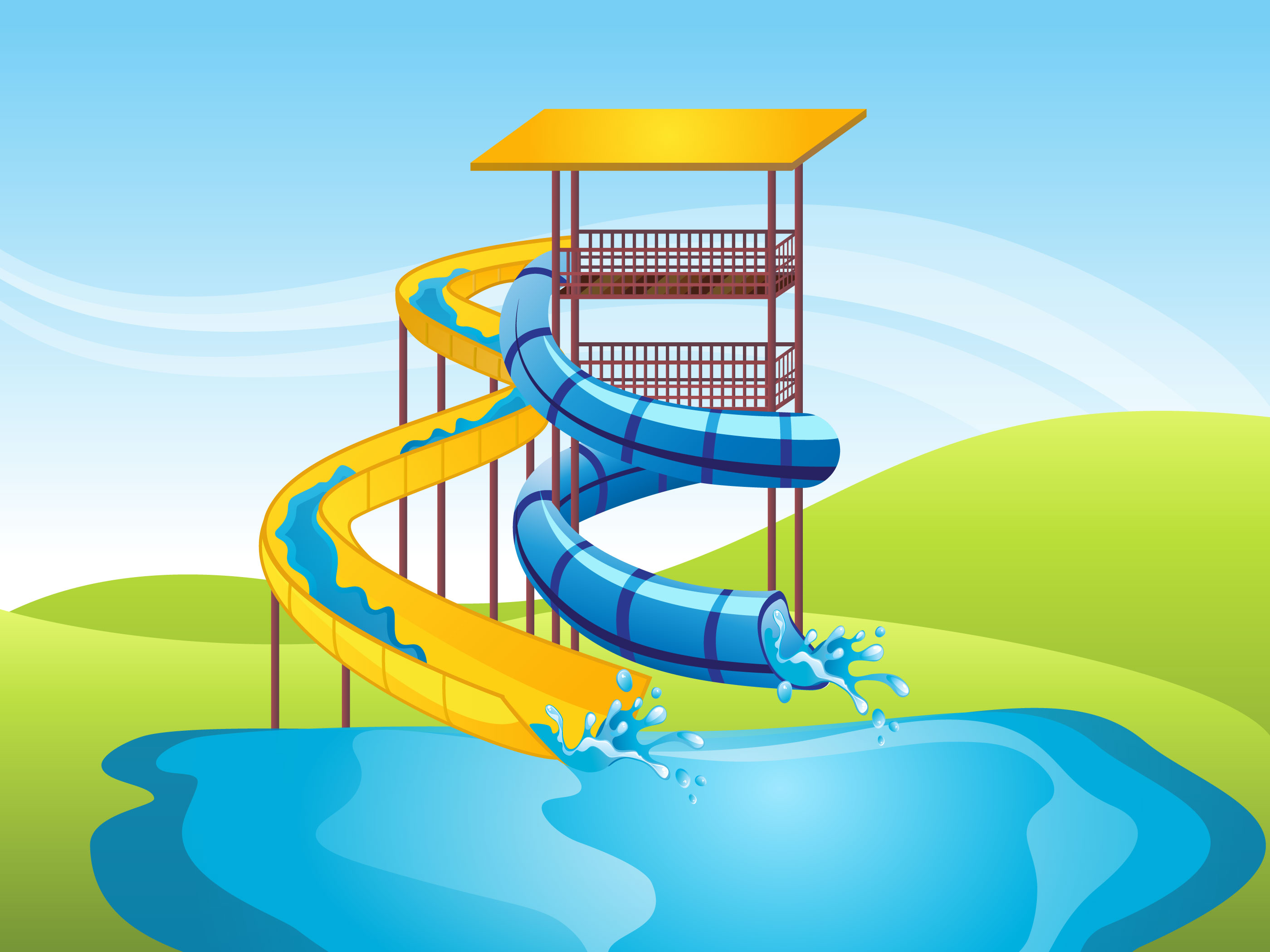 Water Slide Vector Background - Download Free Vector Art ...