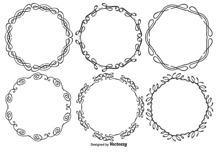 Round Decorative Drawn Style Vector Frames