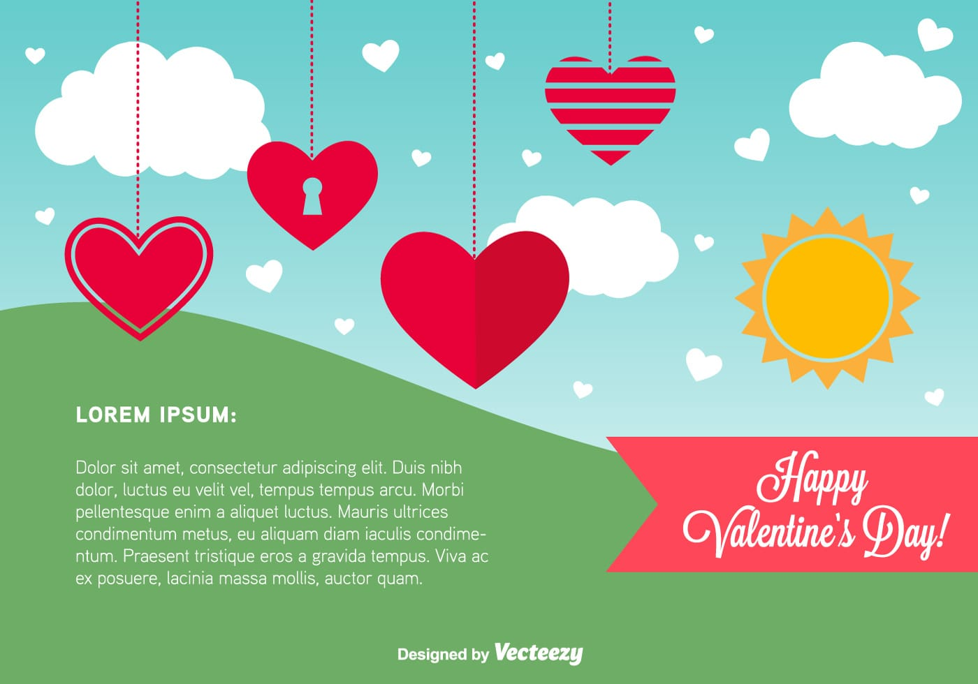 Happy Valentines Day Card Template Download Free Vector Art