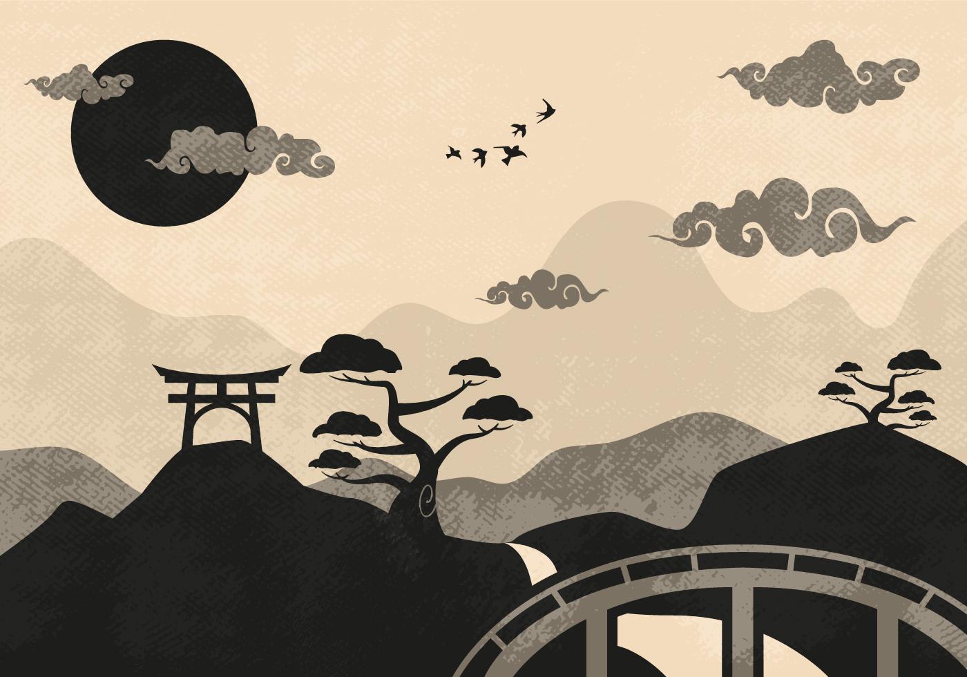 Landscape Illustration Vector Free: Chinese Clouds Landscape Illustration Vector