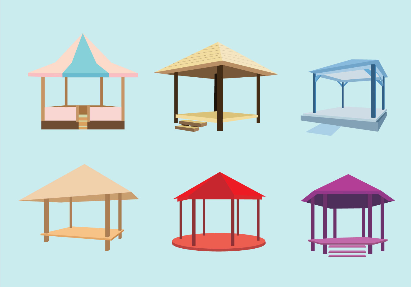 Various Gazebo Vector Download Free Vector Art Stock