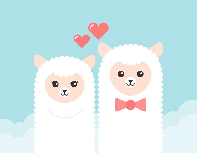 Free Cartoon Alpaca Couple Vector