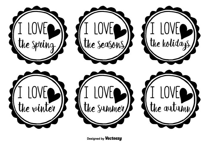Hand Drawn Seasons Badge Vector Set