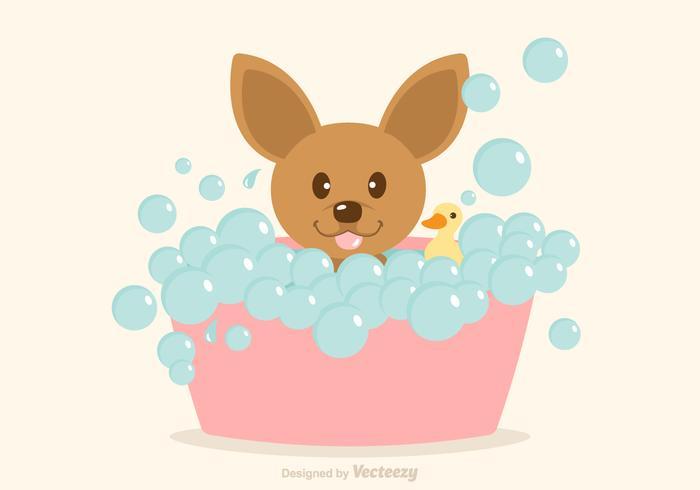 Cão livre do vetor que tem um banho