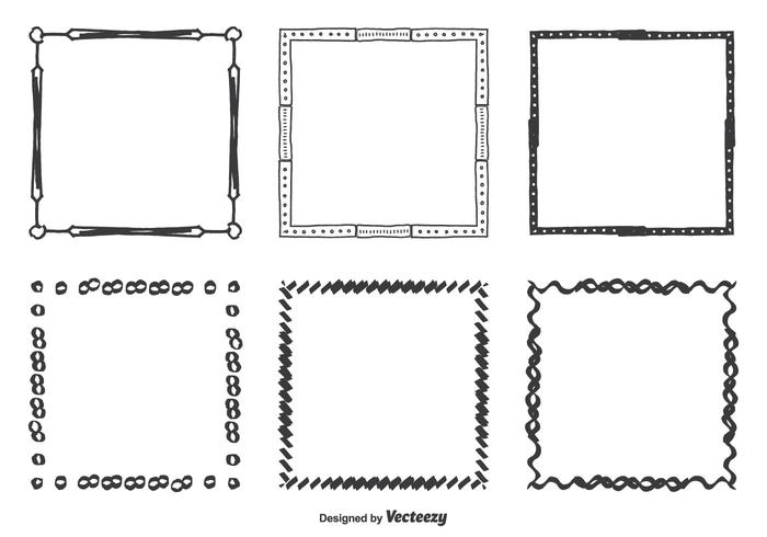 Hand Drawn Vector Frames Set